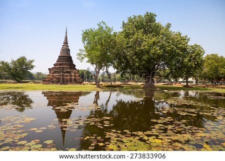 Sukhothai historical park. Buddhist temple ruins in Sukhothai historical park,Thailand  - stock photo