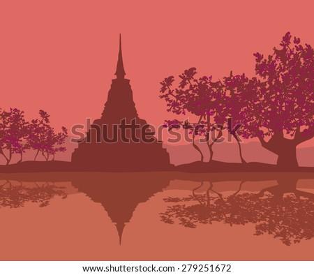 Sukhothai Historical Park, Sukhothai Province, Thailand - stock photo