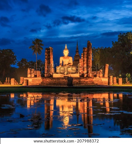 Sukhothai historical park, the old town of Thailand in 800 year ago - Buddha Statue at Wat Mahathat in Sukhothai Historical Park,Thailand  - stock photo