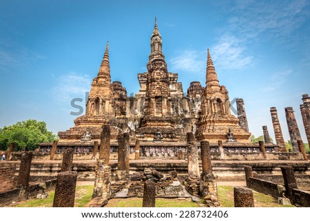 Sukhothai historical park, the old town of Thailand,Mahatat Temple - stock photo