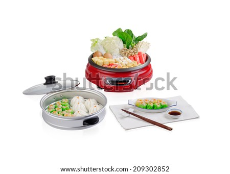 Sukiyaki electric pot with steamed tray isolated on white - stock photo