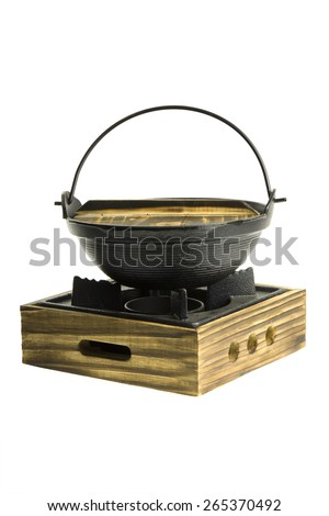 sukiyaki old hot pot isolate on white background - stock photo