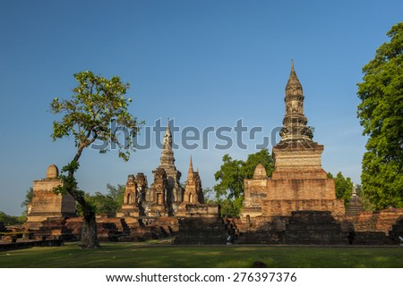 Sukothai historical park, Unesco world heritage, Thailand. - stock photo