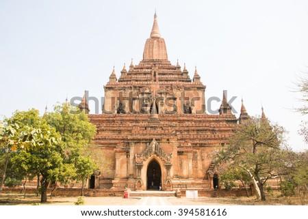 Sulamani Phaya temple in old Bagan, Myanmar (built by King Nantaungmya) - stock photo