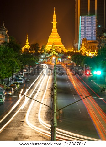 Sule Pagoda at night, central of Yangon, Myanmar - stock photo