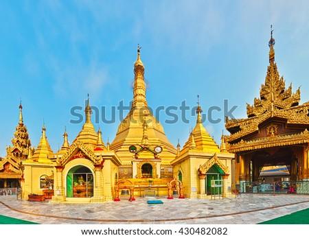 Sule Pagoda Pagoda in Yangon. Myanmar. Panorama - stock photo