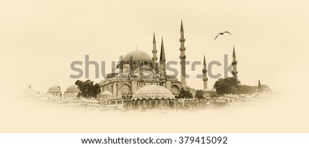 Suleymanie mosque - islamic landmarks in retro style. Architectural graphics in monochromatic color. Arabic architecture of Turkey - travel to old Istanbul.  - stock photo
