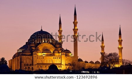 Suleymaniye Mosque by sunset in Instabul, Turkey