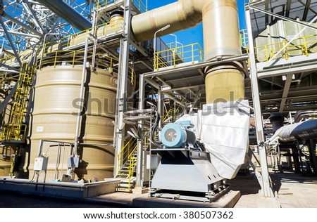 Sulfacide reactors and air filter, part of the working process of a smelter in foundry plant AURUBIS, Pirdop, Bulgaria, November 05, 2015. - stock photo
