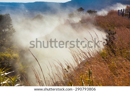 Sulfur gas vents along the trail in Hawaii Volcanoes National Park, Big Island, Hawaii - stock photo