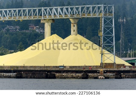 sulfur mine in Vancouver, Canada - stock photo