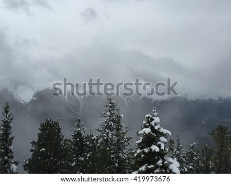 Sulfur Mountain in fog - stock photo