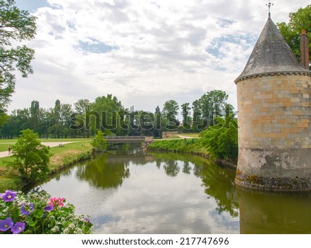 Sully-s-Loire, France - June 7, 2014:Chateau Sully-s-Loire. View of the Castle from different angles.