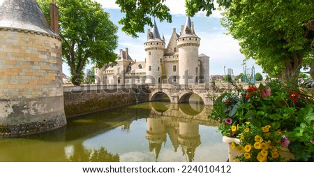 Sully-s-Loire, France - June 7, 2014:Chateau Sully-s-Loire. View of the Castle from different angles. - stock photo
