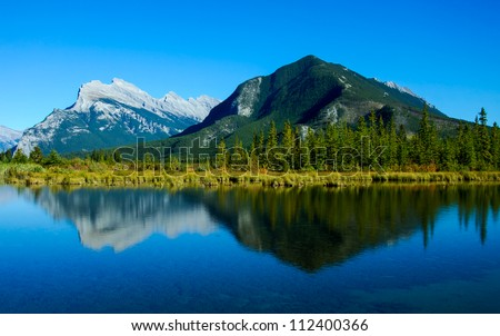Sulphur and Rundle Mountains in Banff National Park, Alberta, Canada. - stock photo