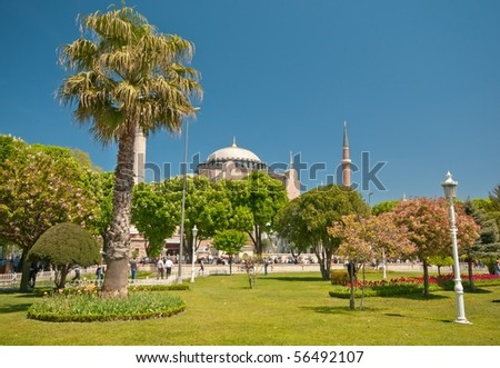 Sultan Ahmed Mosque (Blue Mosque) and the garden. Istanbul.