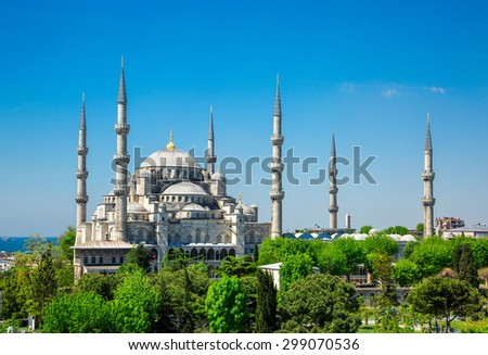Sultan Ahmed Mosque (Blue mosque) in Istanbul in the sunny day, Turkey - stock photo