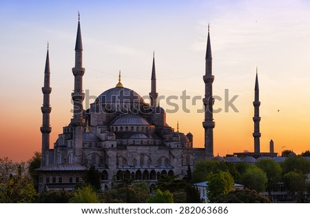 Sultan Ahmed Mosque (Blue Mosque) in Istanbul  on a sunset - stock photo