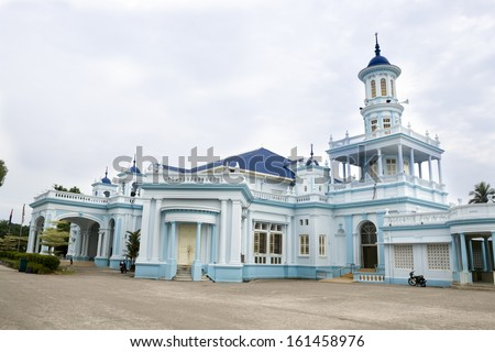 Sultan Ibrahim Jamek Mosque in Muar, Malaysia. Architecture of this mosque have strong British influence - stock photo