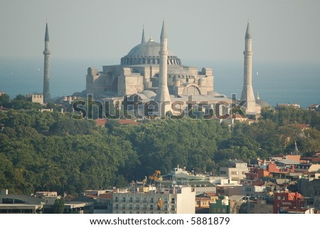 Sultanahmed Mosque seen from Beyoglu - stock photo
