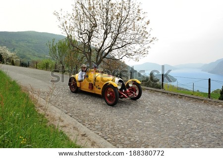 SULZANO, ITALY - APRIL 12: An yellow BNC 527 Monza takes part to the Franciacorta Historic classic car race on April 12, 2014 in Sulzano. The car ware built in 1935 and 1951.