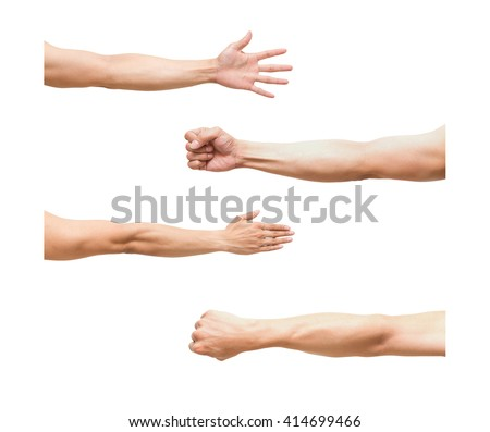 sum 4 pic of Arm in fist action on white background,include clipping path - stock photo