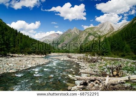 sumak river - sayan mountains - buryatia - russia - stock photo