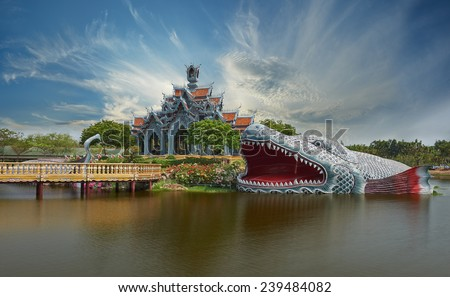 Sumeru Mountain Palace, Ancient Siam (formerly known as Ancient City) is a park constructed under the patronage of Lek Viriyaphant and spreading over 0.81 km2 in the shape of Bangkok, Thailand. - stock photo
