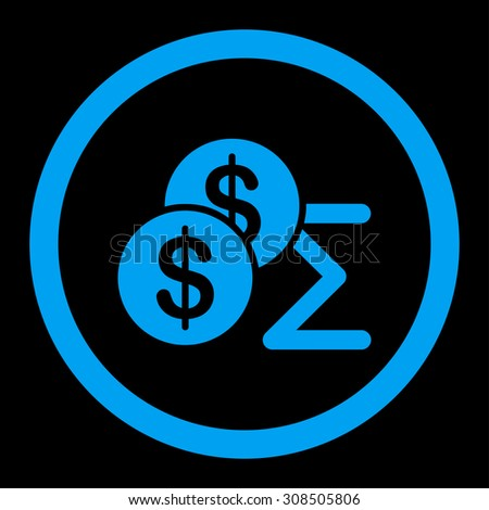 Summary glyph icon. This flat rounded symbol uses blue color and isolated on a black background. - stock photo