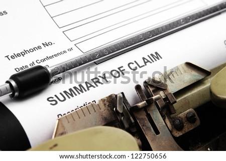 Summary of claim - stock photo