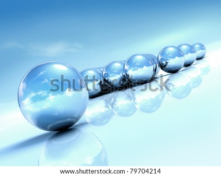 Summer abstraction with 3d chrome balls, blue sky background - stock photo