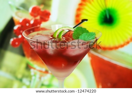 Summer alcoholic recreational drink with mint and lemon - Small DOF - stock photo