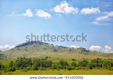 Summer Altai landscape with hills and meadows