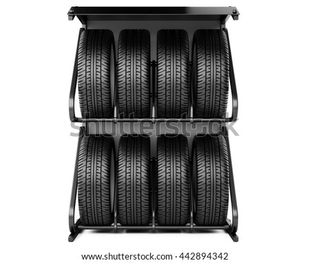 Summer and winter tires set for sale at a tire store, front viev. 3d image isolated on a white background. - stock photo