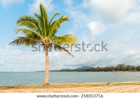 Summer at a tropical paradise in Rayong, Thailand with palm trees, blue sky, clouds and crystal clear water - stock photo