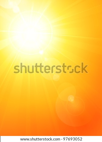 Summer background with a magnificent summer sun burst with lens flare. Space for your text. - stock photo