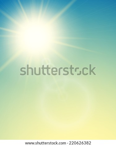 Summer background with a summer sun burst with lens flare, green sunset illustration - stock photo