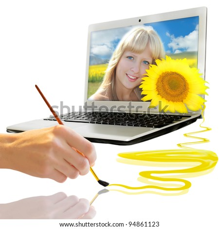 Summer background with notebook, girl, sunflower, hand and drawing brush - stock photo