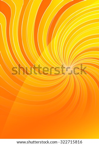 Summer background with orange yellow rays summer sun light burst. Hot swirl with space for your message. Illustration for design presentation, brochure layout page, cover book & magazine - stock photo