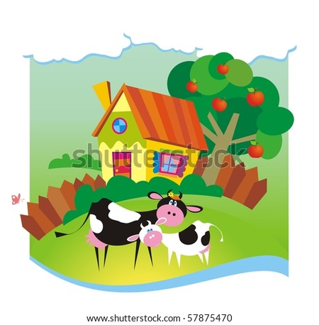Summer background with small house and cows