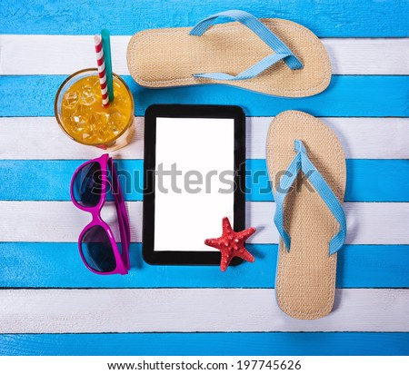 Summer Background With Summer Necessities And Digital Tablet As Copyspace