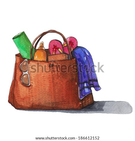 Summer beach bag with items , watercolor painting - stock photo
