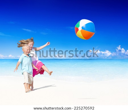 Summer Beach Family Fun. - stock photo