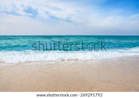 Summer beach. Sky and sea. Beautiful seascape. Alanya, Turkey - stock photo