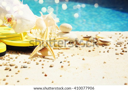 Summer beach with orchid