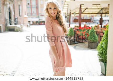 Summer blonde girl - stock photo