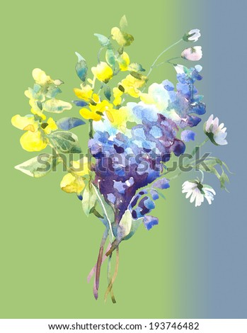 Summer Blue Flowers. Watercolor illustration. - stock photo