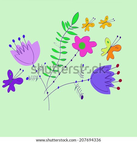 Summer bouquet with butterflies on a light green background. Raster version. - stock photo