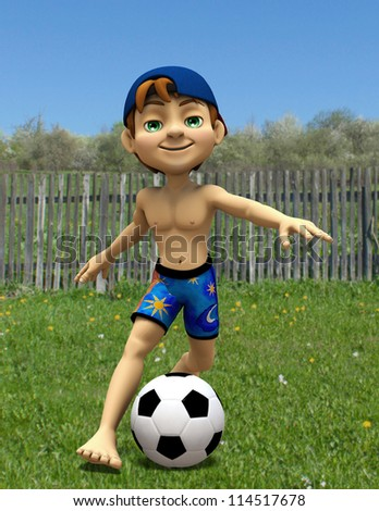 summer boy playing football