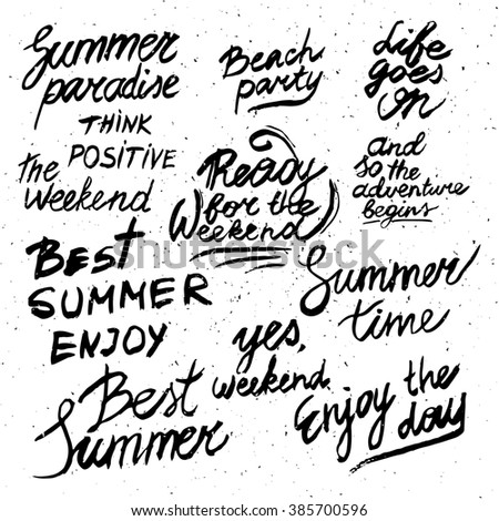 Summer calligraphic designs set. Retro hand drawn elements for summer holidays posters, banners and flyers. Best summer, paradise, beach party, weekend, enjoy the day. - stock photo